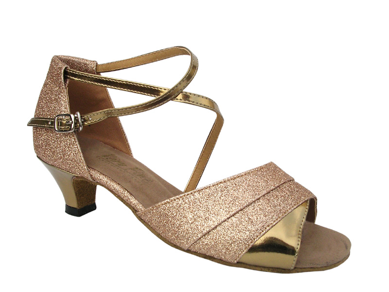 Ladies' Practice & Cuban heel - Very Fine Classic - 1659 - Gold Stardust & Gold Leather