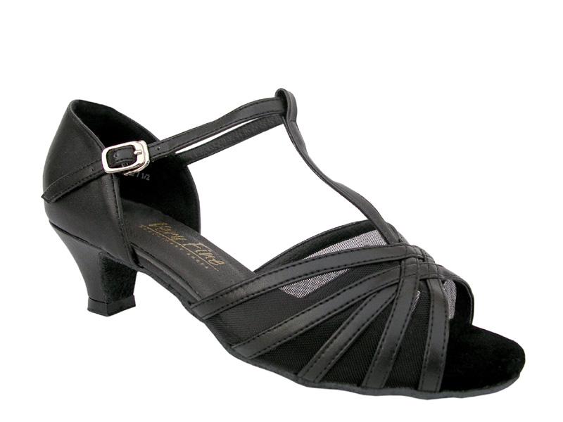 Ladies' Practice & Cuban heel - Very Fine Classic - 16612 - Black Leather & Black Mesh