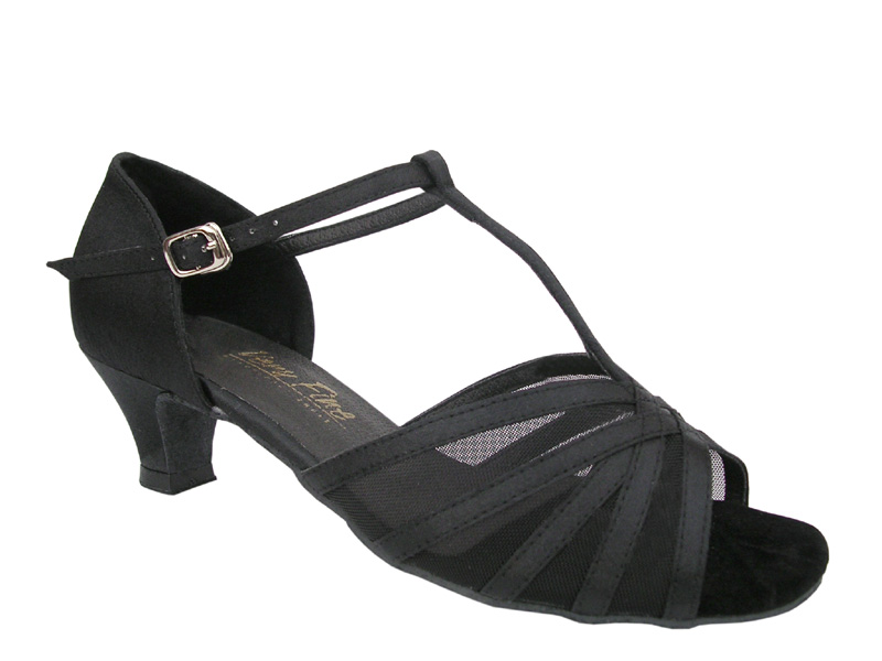 Ladies' Practice & Cuban heel - Very Fine Classic - 16612 - Black Satin & Black Mesh