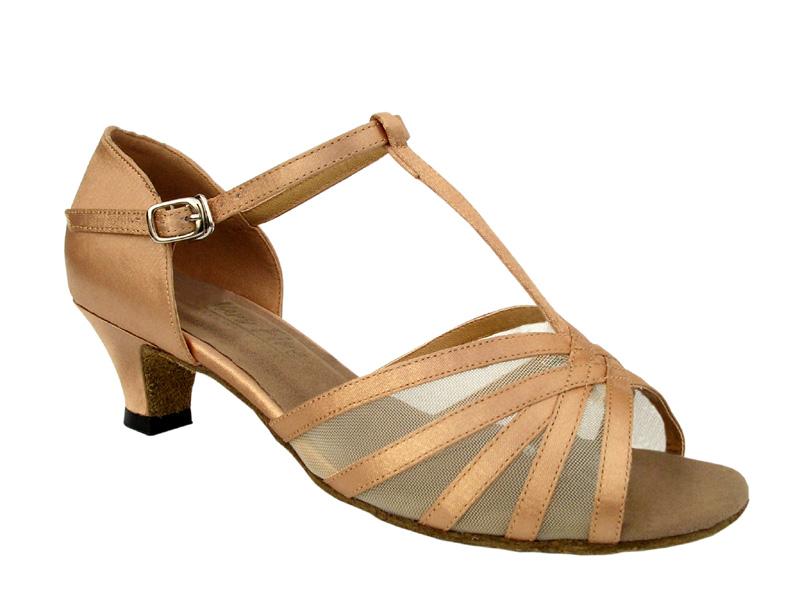 Ladies' Practice & Cuban heel - Very Fine Classic - 16612 - Brown Satin & Flesh Mesh