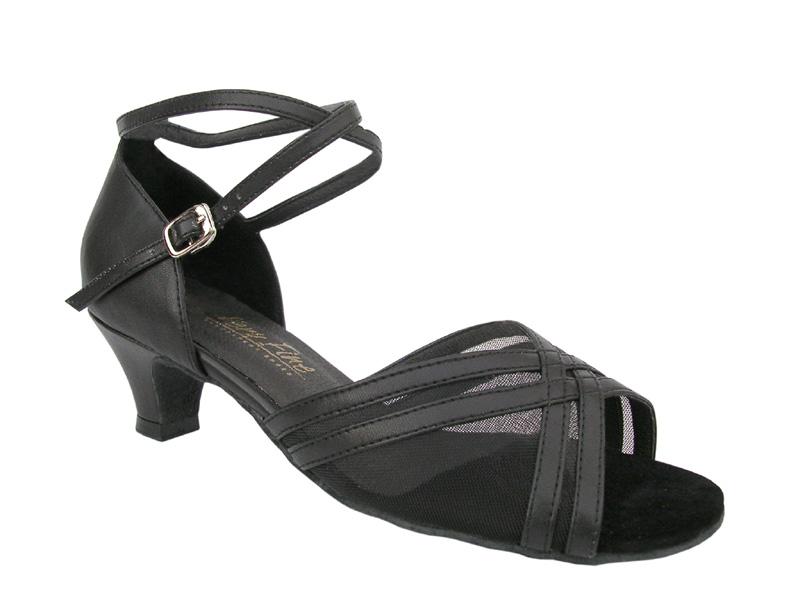 Ladies' Practice & Cuban heel - Very Fine Classic - 5017 - Black Leather & Black Mesh