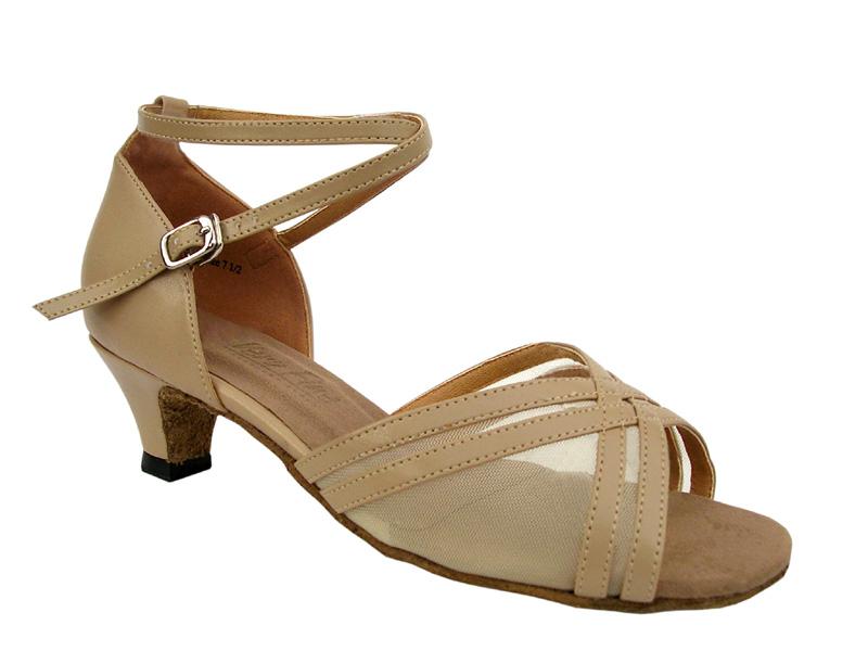 Ladies' Practice & Cuban heel - Very Fine Classic - 5017 - Tan Leather & Flesh Mesh