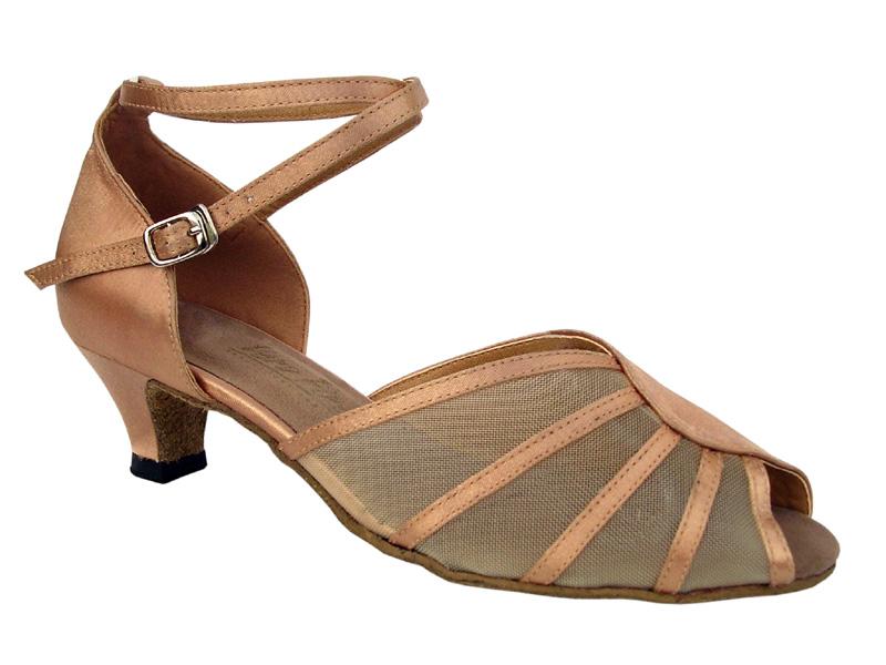 Ladies' Practice & Cuban heel - Very Fine Classic - 6018 - Brown Satin & Flesh Mesh