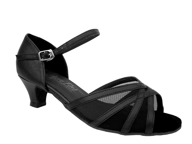 Ladies' Practice & Cuban heel - Very Fine Classic - 6027 - Black Leather & Black Mesh