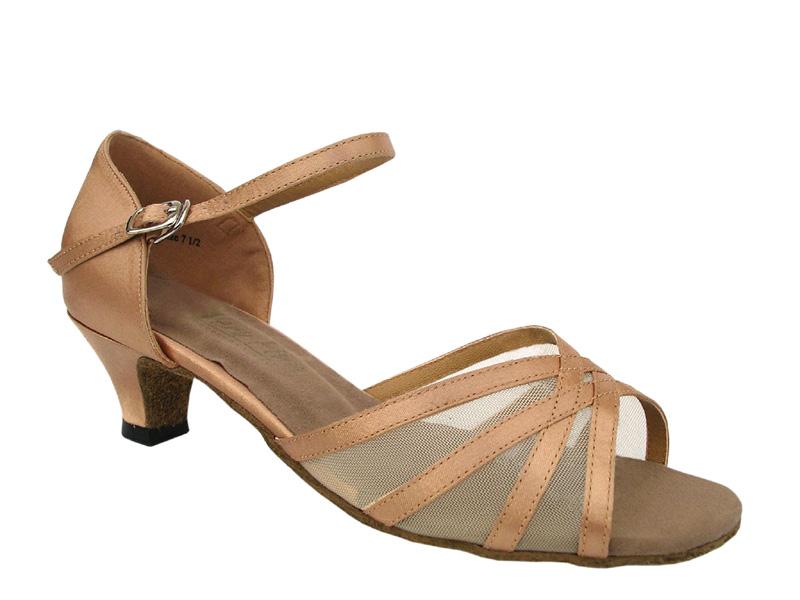 Ladies' Practice & Cuban heel - Very Fine Classic - 6027 - Brown Satin & Flesh Mesh
