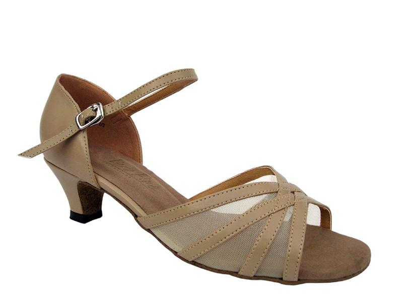 Ladies' Practice & Cuban heel - Very Fine Classic - 6027 - Tan Leather & Flesh Mesh