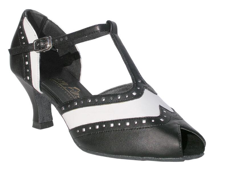 Ladies' Latin, Rhythm & Salsa - Very Fine Classic   - 6034 - Black Leather & White Trim