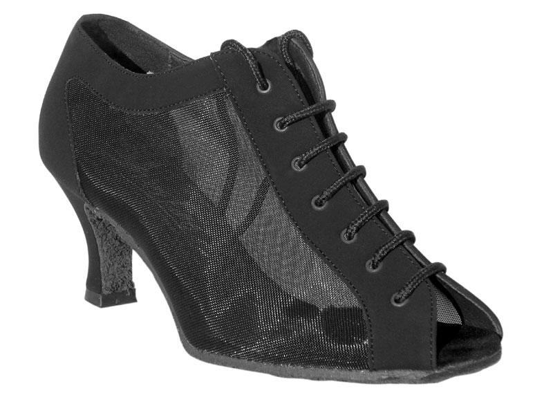 Ladies' Latin, Rhythm & Salsa - Very Fine Classic   - 1643 - Black Nubuck & Black Mesh