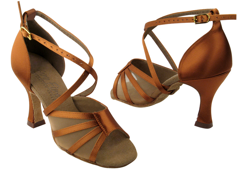 Ladies' Latin, Rhythm & Salsa - Very Fine C Series - C1601 - Dark Tan Satin & Flesh Mesh