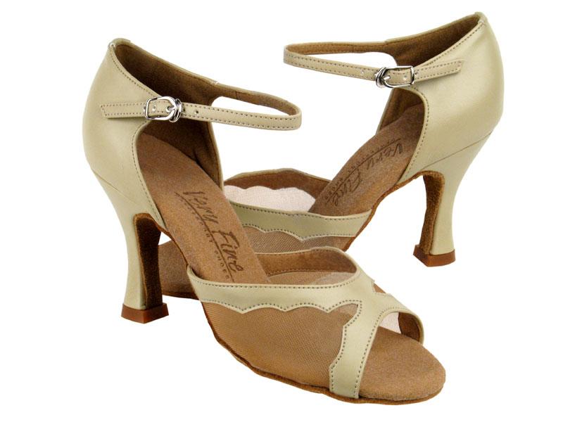 Ladies' Latin, Rhythm & Salsa - Very Fine C Series - C1616 - Beige Leather & Flesh Mesh