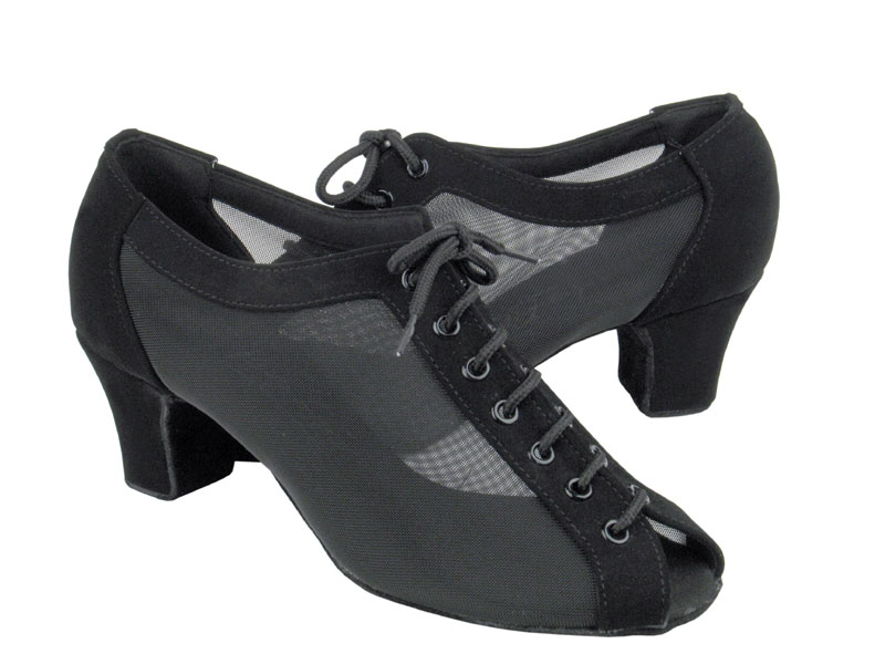 Ladies' Practice & Cuban heel - Very Fine C Series - C1643 - Black Nubuck & Black Mesh