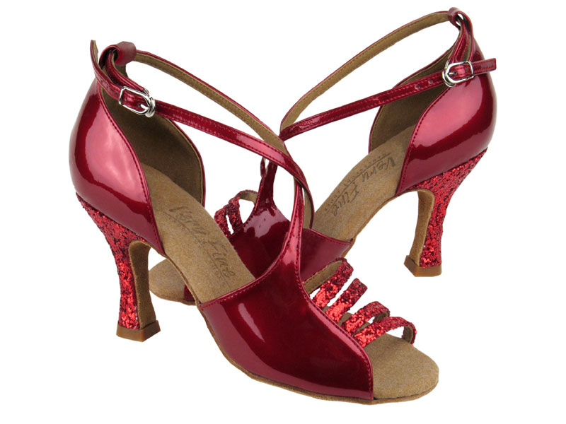 Ladies' Latin, Rhythm & Salsa - Very Fine C Series - C1651  - Red Sparkle & Red Patent