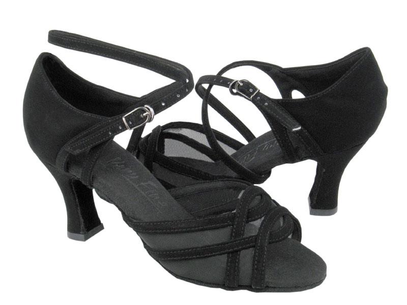 Ladies' Latin, Rhythm & Salsa - Very Fine C Series - C1657 - Black Nubuck & Black Mesh