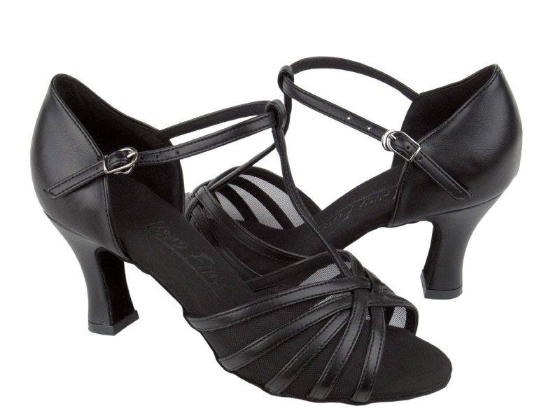 Ladies' Latin, Rhythm & Salsa - Very Fine C Series - C16612 - Black Leather & Black Mesh