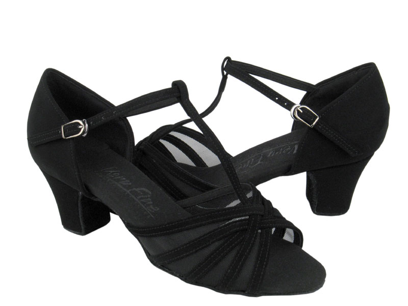 Ladies' Practice & Cuban heel - Very Fine C Series - C16612 - Black Nubuck & Black Mesh