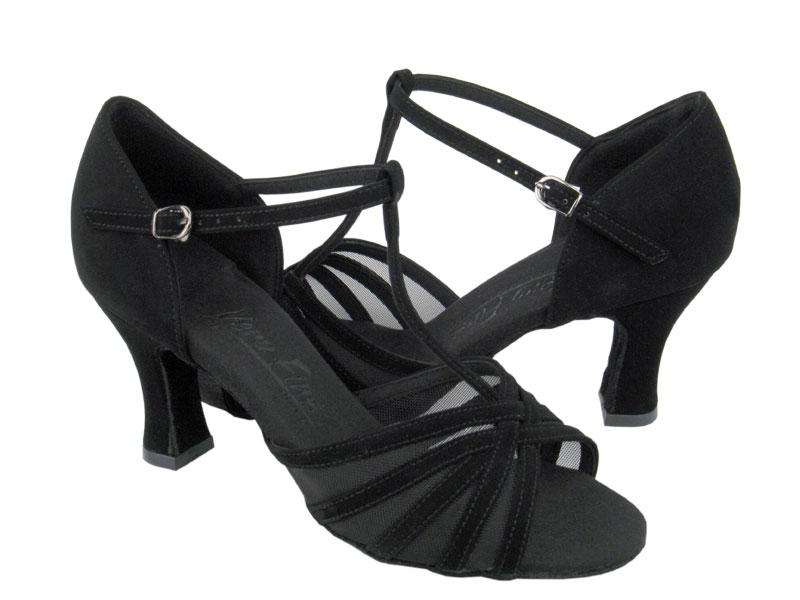 Ladies' Latin, Rhythm & Salsa - Very Fine C Series - C16612 - Black Nubuck & Black Mesh