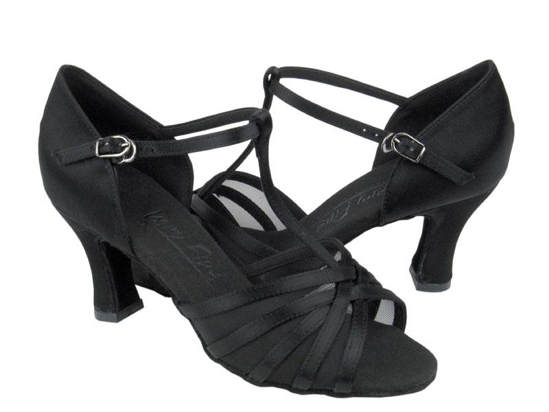 Ladies' Latin, Rhythm & Salsa - Very Fine C Series - C16612 - Black Satin & Black Mesh