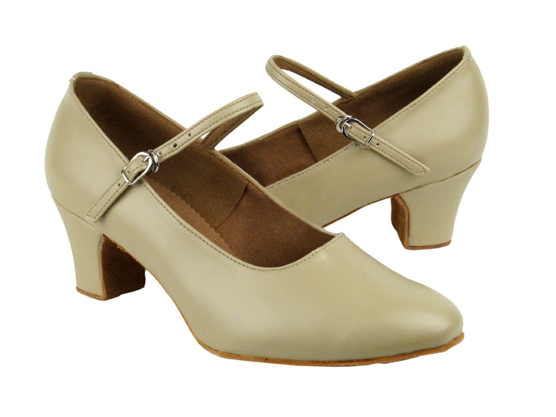 Ladies' Practice & Cuban heel - Very Fine C Series - C1682 - Beige Leather