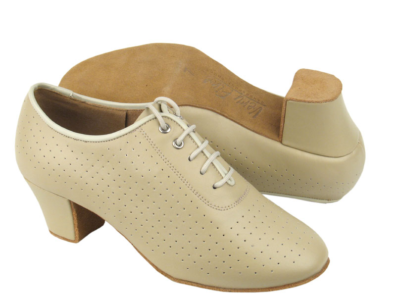 Ladies' Practice & Cuban heel - Very Fine C Series - C2001 - Beige Leather