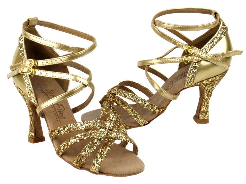 Ladies' Latin, Rhythm & Salsa - Very Fine C Series - C5008Mirage - Gold Sparkle & Gold Leather