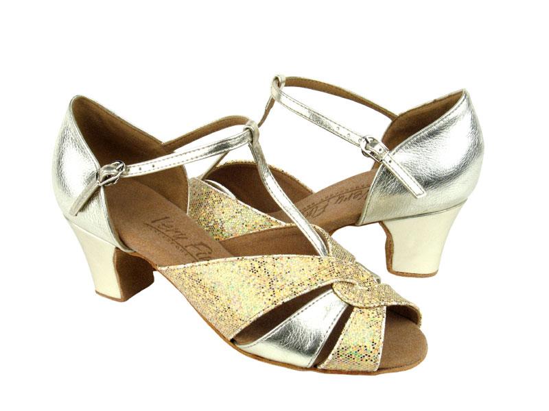 Ladies' Practice & Cuban heel - Very Fine C Series - C6006 - Gold Leather & Gold Scale