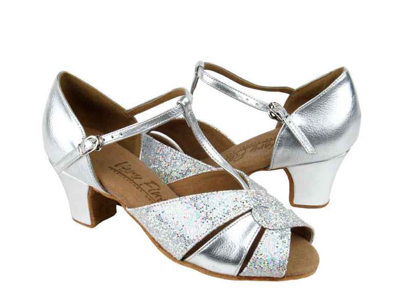 Ladies' Practice & Cuban heel - Very Fine C Series - C6006 - Silver Leather & Silver Scale