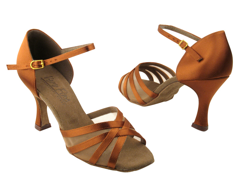 Ladies' Latin, Rhythm & Salsa - Very Fine C Series - C6027 - Dark Tan Satin & Flesh Mesh