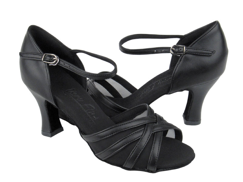 Ladies' Latin, Rhythm & Salsa - Very Fine C Series - C6027 - Black Leather & Black Mesh