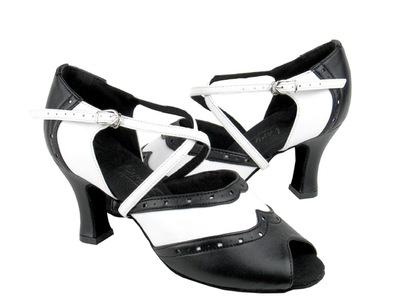 Ladies' Latin, Rhythm & Salsa - Very Fine C Series - C6035 - Black Leather & White Leather
