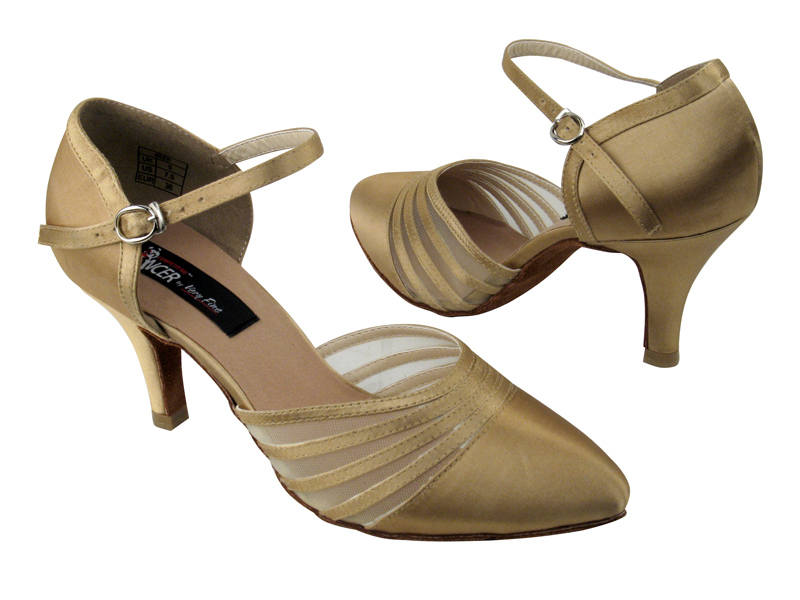 Ladies' Standard & Smooth - VF Competitive Dancer - CD6033 - Tan Satin