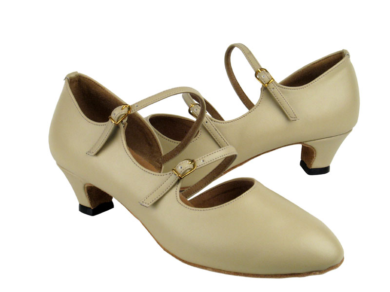 Ladies' Practice & Cuban heel - Very Fine Party Party - PP201 - Beige Leather