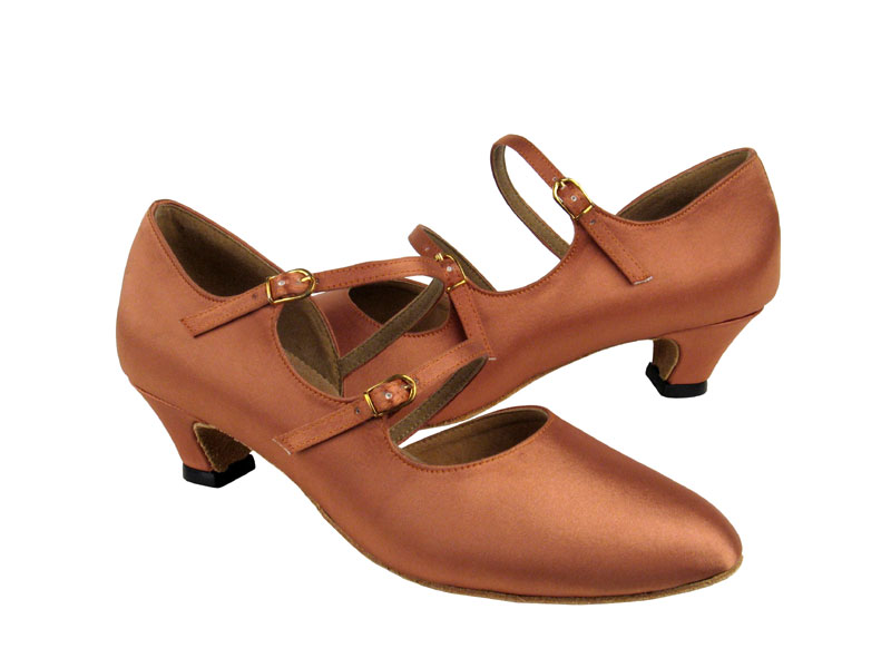 Ladies' Practice & Cuban heel - Very Fine Party Party - PP201 - Tan Satin