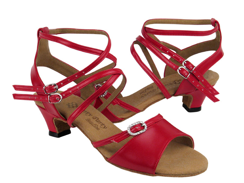 Ladies' Practice & Cuban heel - Very Fine Party Party - PP202 - Red Leather