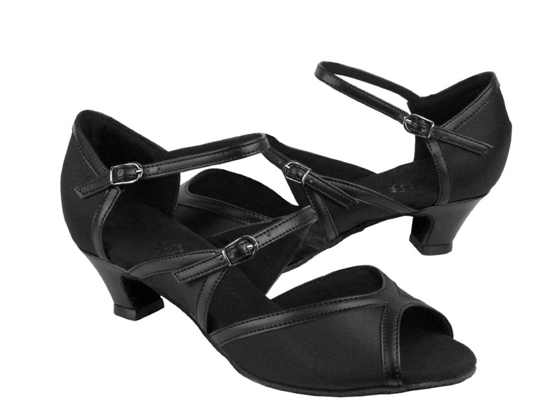 Ladies' Practice & Cuban heel - Very Fine Party Party - PP207 - Black Satin & Black Trim
