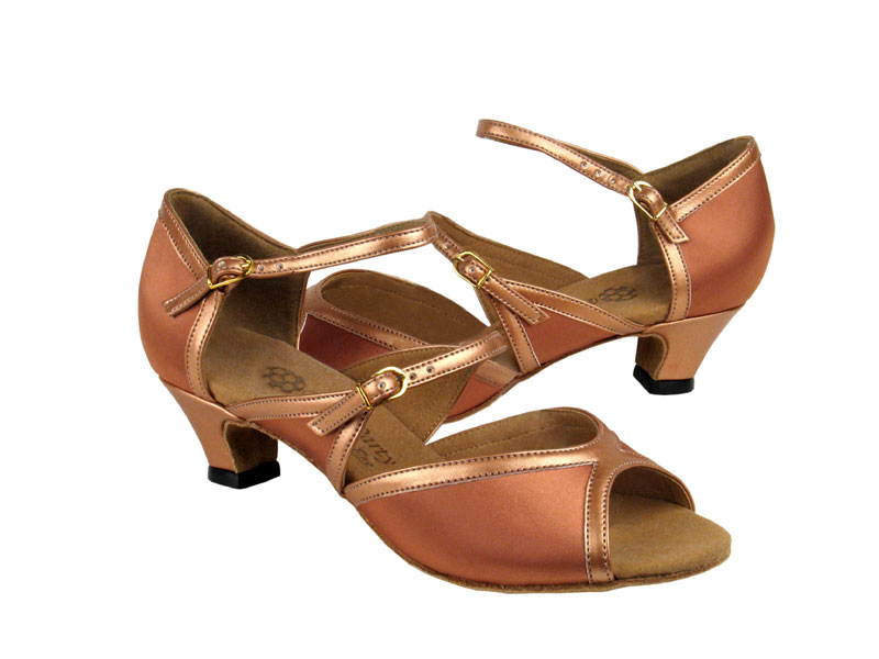 Ladies' Practice & Cuban heel - Very Fine Party Party - PP207 - Tan Satin & Copper Nude Trim
