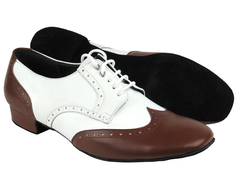 Men's Standard & Smooth - Very Fine Party Party - PP301 - Dark Tan Leather & White Leather