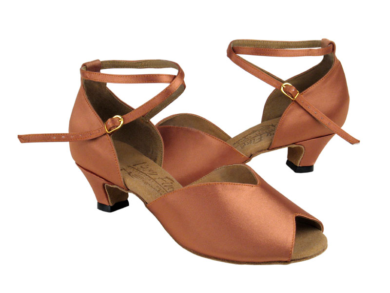 Ladies' Practice & Cuban heel - Very Fine Signature - S2801 - Tan Satin