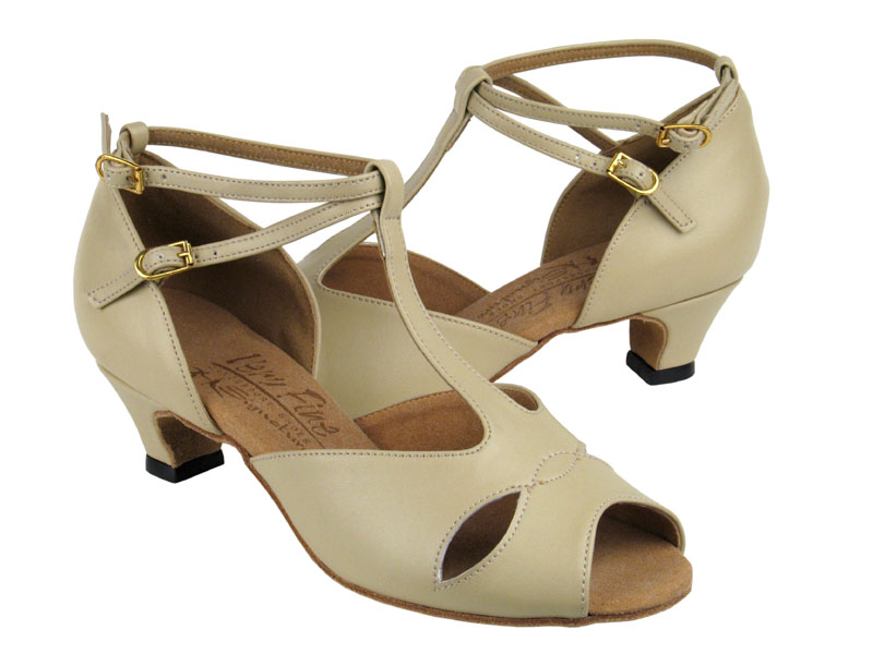 Ladies' Practice & Cuban heel - Very Fine Signature - S2803 - Beige Leather