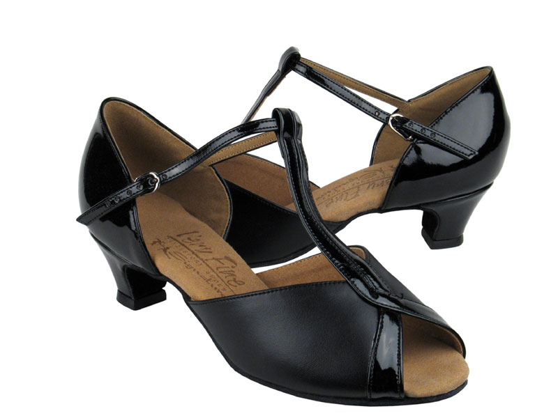 Ladies' Practice & Cuban heel - Very Fine Signature - S2804 - Black Leather & Black Patent
