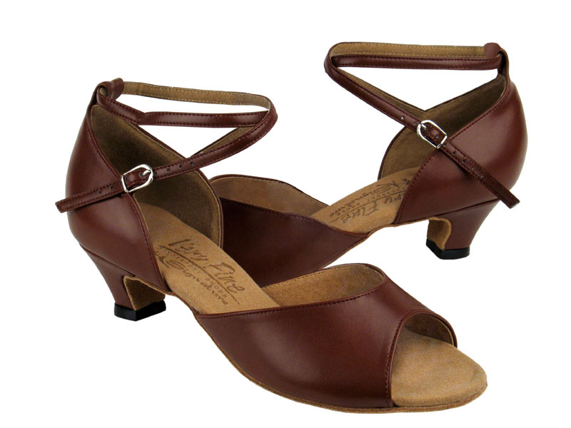 Ladies' Practice & Cuban heel - Very Fine Signature - S9220 - Dark Tan Leather