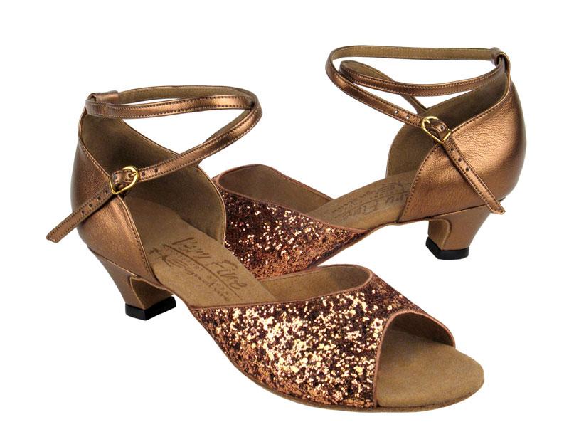 Ladies' Practice & Cuban heel - Very Fine Signature - S9220 - Dark Tan Sparkle & Dark Tan Gold