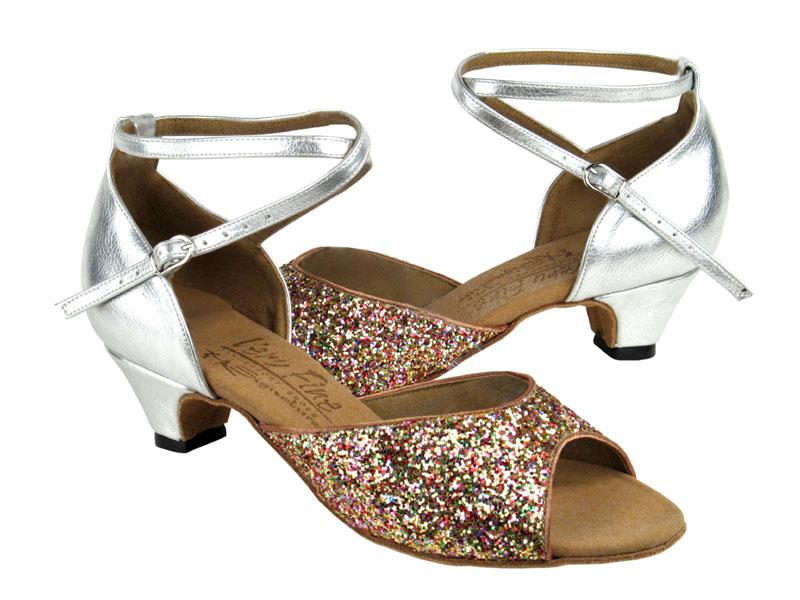 Ladies' Practice & Cuban heel - Very Fine Signature - S9220 - Rainbow Sparkle & Silver Leather