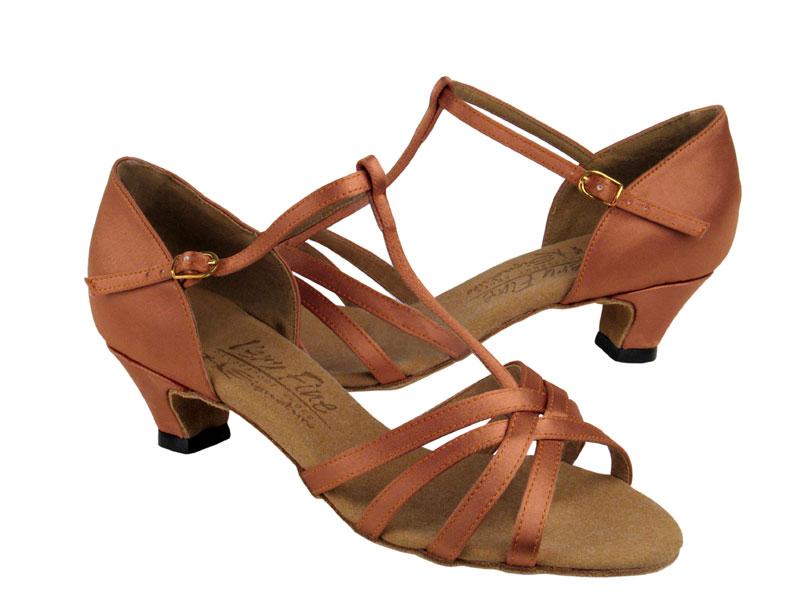 Ladies' Practice & Cuban heel - Very Fine Signature - S9235 - Tan Satin