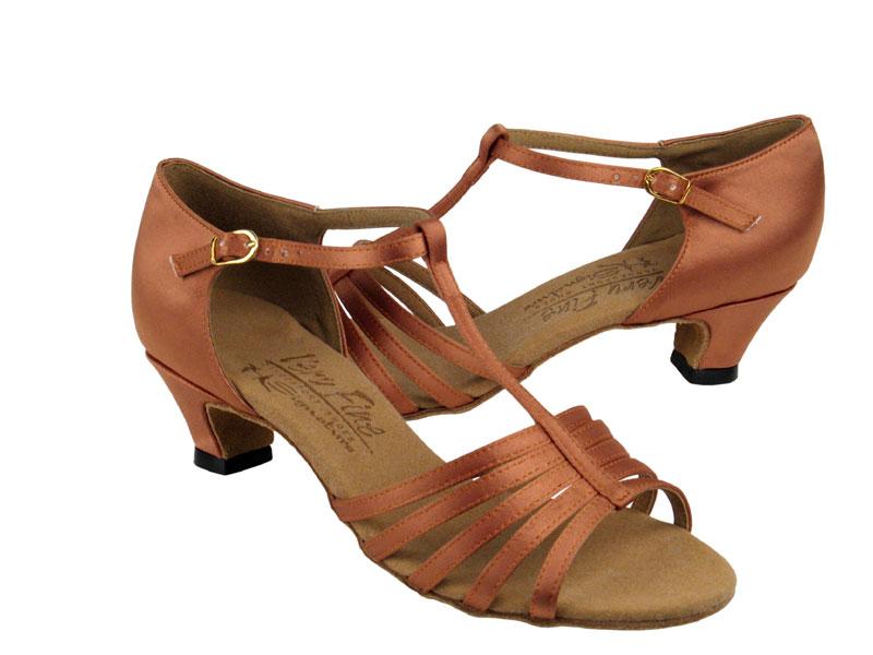 Ladies' Practice & Cuban heel - Very Fine Signature - S9273 - Tan Satin