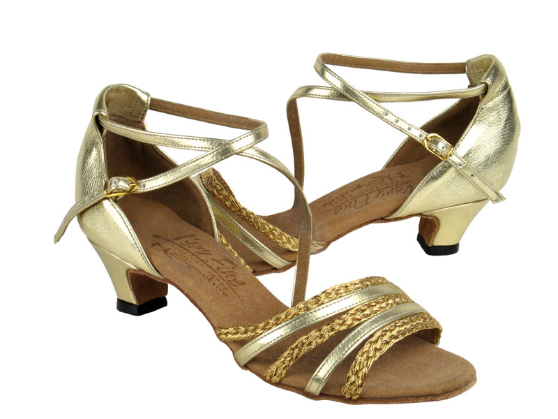 Ladies' Practice & Cuban heel - Very Fine Signature - S9278 - Gold Leather & Gold Braid