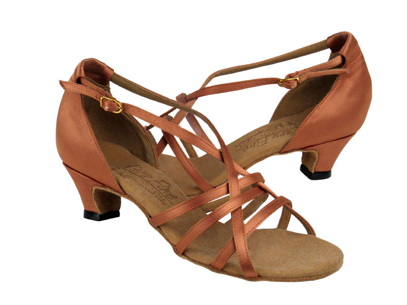 Ladies' Practice & Cuban heel - Very Fine Signature - S9279 - Tan Satin