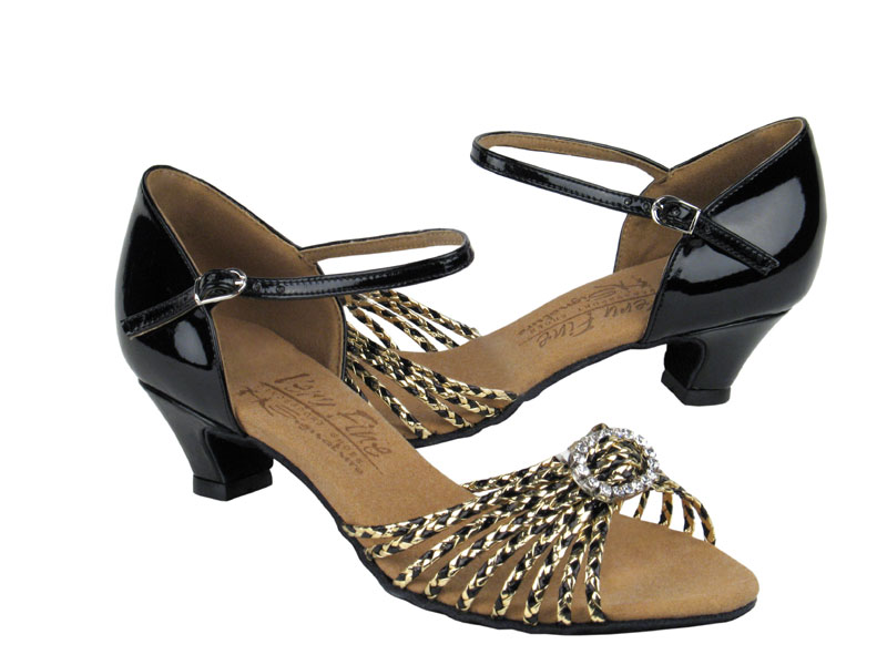 Ladies' Practice & Cuban heel - Very Fine Signature - S9283 - Black & Gold Braid