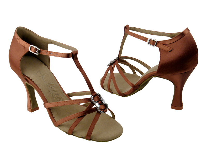 Ladies' Latin, Rhythm & Salsa - Very Fine Salsera - SERA1120 - Dark Tan Satin