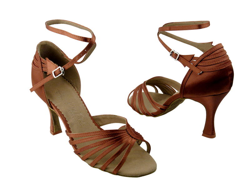 Ladies' Latin, Rhythm & Salsa - Very Fine Salsera - SERA1139 - Dark Tan Satin