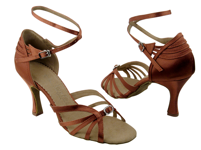 Ladies' Latin, Rhythm & Salsa - Very Fine Salsera - SERA1145 - Dark Tan Satin